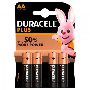 Duracell Plus Power Type AA Alkaline Batteries, Pack of 4