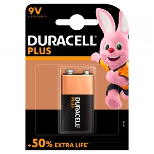 Duracell Plus Type 9V Alkaline Battery, Pack of 1