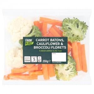 Farm Fresh Carrot Batons, Cauliflower & Broccoli Florets 250g