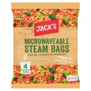 Jack's Microwaveable Steam Bags Carrots, Broccoli & Sweetcorn 4 x 160g (640g)