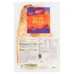 Jack's 2 Plain Naans Flame Baked 260g